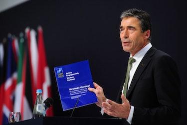 Tidligere generalsekretær i NATO, Fogh Rasmussen, under lanseringen av alliansens strategiske konsept i Lisboa i 2010.