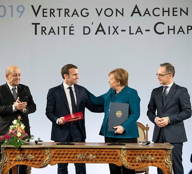 German Chancellor Angela Merkel and French President Emmanuel Macron during the signing ceremony of the Aachen Treaty.