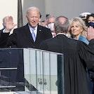 President Joseph R. Biden Jr. takes the presidential oath of office at the U.S. Capitol, Washington, D.C., Jan. 20, 2021.