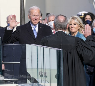 President Joseph R. Biden Jr. takes the presidential oath of office at the U.S. Capitol, Washington, D.C., Jan. 20, 2021.