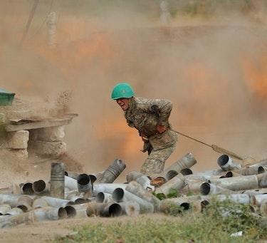 Armensk soldat i Nagorno-Karabakh.
