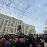 Protester mot fengslingen av Aleksej Navalnyj i januar 2021.