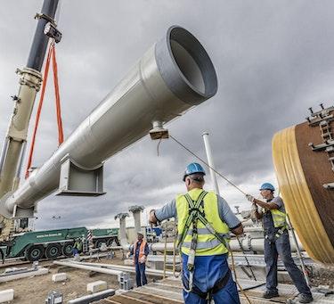 Installering av gassrør i Lubmin.