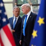 Tillit mellom USA og Europa er en faktor vanskelig å vitenskapelig måle. Her er president i Det europeisk råd, Donald Tusk, sammen med sin navnebror, Trump.