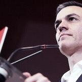 Pedro Sánchez under et valgmøte i Gijon.