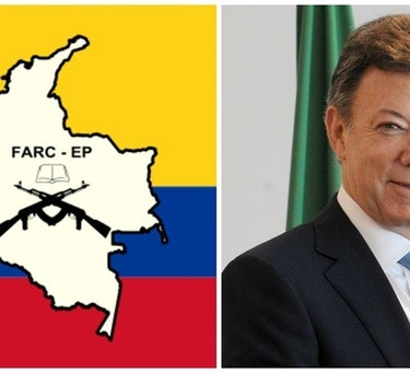 To the left: the FARC flag. To the right: President of Colombia and Nobel Peace Prize winner 2016, Juan Manuel Santos. Credit: Public domain (left) and Agência Brasil (right) CC 3.0.