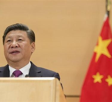 Xi Jinping speaking to the UN at Geneva.