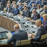 ​Secretary General of NATO, Jens Stoltenberg, leading a session during the NATO Summit in Brussels in July 2018