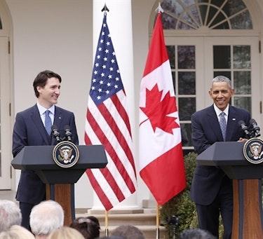 Canadas nyvalgte statsminister Justin Trudeau og USAs president Barack Obama under et bilateralt møte i mars i år i Washington DC, hvor blant annet Arktis, klima og energi var på agendaen.