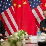 Kinas president, Xi Jinping, med USAs president, Barack Obama.