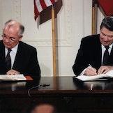 Gorbachev and Reagan sign the INF Treaty, 1987. Public domain.